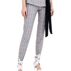 Zara Plaid Check Stretch Pants in Grey Multi